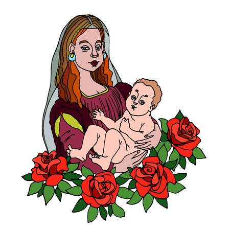 Madonna with baby in arms & red roses with leaves, symbol of mother love & family, color vector illustration with black contour lines isolated on white background