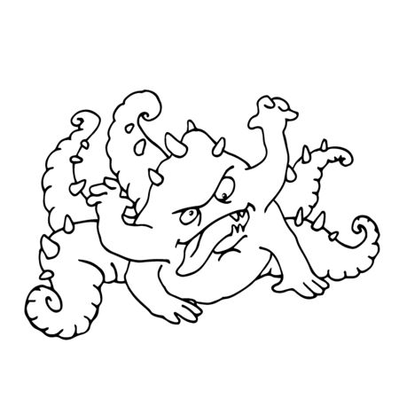 funny reptile with human face, hands, tentacles and spikes, monster, space alien, vector illustration with black contour lines isolated on white background in Doodle and hand drawn style
