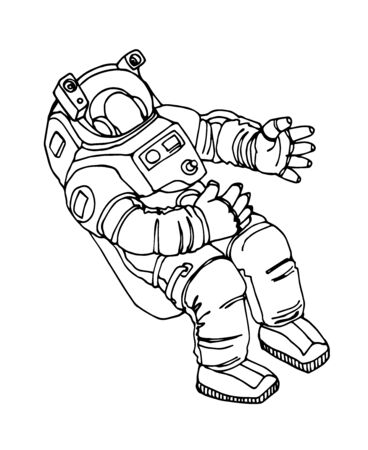 astronaut in spacesuit floating in weightlessness, vector illustration with black contour lines isolated on white background in hand drawn and Doodle style Illustration