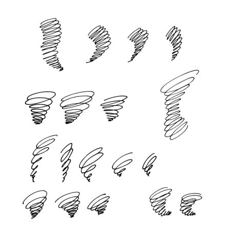 a set of simple spiral vortices or tornadoes as an element of a pattern or emblem, , vector illustration in black contour lines, isolated on a white background