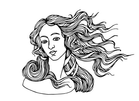 the head of goddess of love, from a painting by Botticelli, the birth of Venus, for a , vector illustration with black contour lines isolated on white background