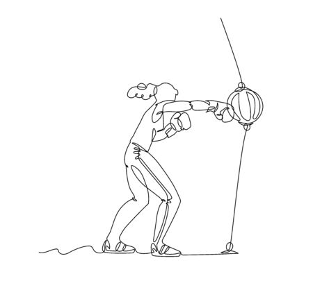 a girl in sportswear and Boxing gloves hits right hook on a leather pneumatic speed ball, vector illustration with black single contour line isolated on white background