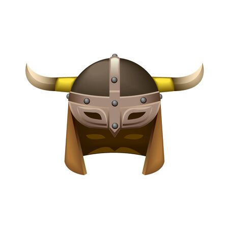 ancient leather Northern Viking helmet with visor and horns, color vector illustration isolated on a white background in cartoon & clip art style