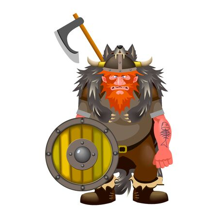 northern scandinavian terrible warrior, viking in wolfskin armor & horned leather helmet with red hair, wooden shield, battle ax, vector illustration isolated on white background in cartoon style