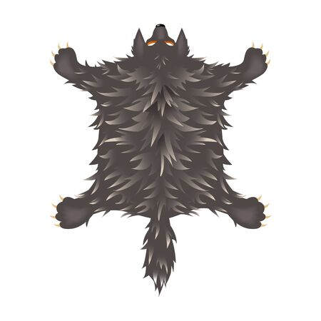 crucified shaggy gray wolf skin with head, paws and tail, interior element, color vector illustration isolated on white background in cartoon & clip art style 일러스트