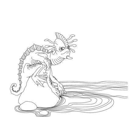 reptile mutant with a human face, tentacles and spikes, monster, space alien, sitting on a stone rock on the ocean shore, vector illustration with black contour lines isolated on a white background in doodle and hand drawn style