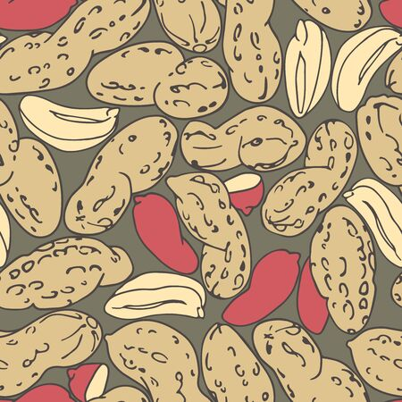seamless pattern of a set of peanuts & red kernels, for menu design or confectionery, textiles, illustration with colored contour lines on a gray background in doodle & hand drawn style