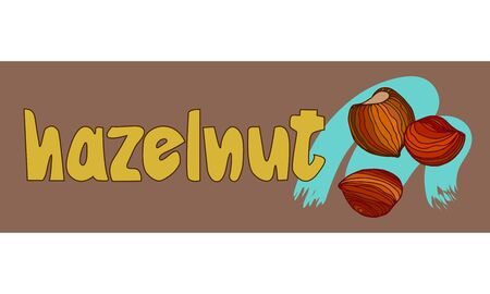 hazelnut in shell, nut kernels & inscription, element of poster, decoration, banner, illustration with colored contour lines on a brown background in doodle & hand drawn style