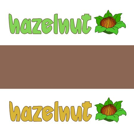 hazelnut in shell with green leaves & inscription, element of poster, decoration, banner, illustration with colored contour lines isolated on a white background in doodle & hand drawn style