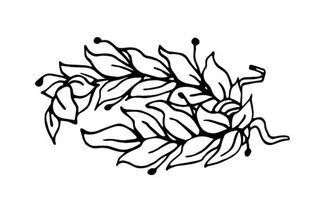 Laurel branches tied in a wreath as a symbol of glory and victory vector illustration with black contour lines in hand drawn style isolated on white background Vetores