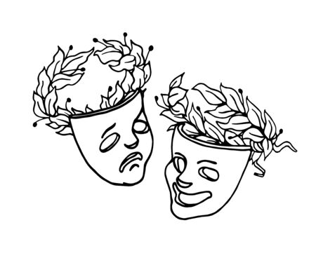 theatrical masks of Comedy and tragedy with laurel wreaths, symbols of joke, fun, drama, sadness, vector illustration with black ink contour lines in hand drawn style isolated on white background