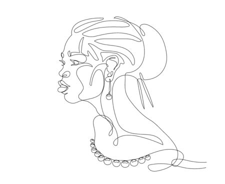 head of cute beautiful asian girl with costume jewelry, beads & earrings for   posters, cards, vector illustration with black contour lines isolated on white background in one line drawing style 矢量图像