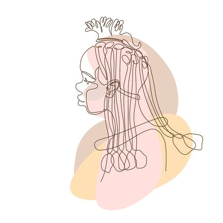 head of cute beautiful black african girl, tribe woman himba, for   tourist posters, cards, color vector illustration with contour lines isolated on white background in one line drawing style