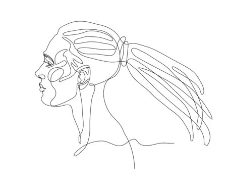 head of a young cute girl with dreadlocks hairstyle in profile
