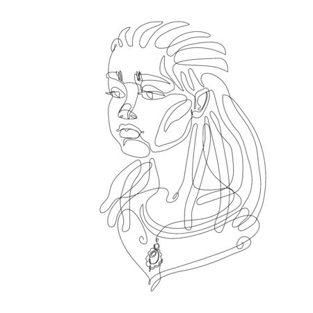 head of a young cute girl with dreadlocks hairstyle & a brooch,  posters, cards, vector illustration with black contour lines isolated on a white background in one line drawing style