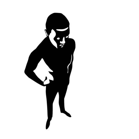 black silhouette of an evil man with a dangerous character, concept of a bad person, spy, criminal, vector illustration isolated on a white background in cartoon & hand drawn style Иллюстрация