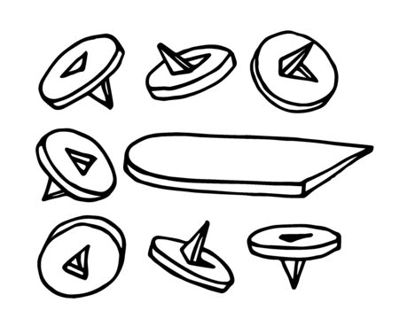 set of old office buttons, simple pushpin for paper, vector illustration with black ink contour lines isolated on a white background in doodle & hand drawn style