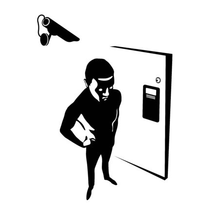black silhouette of an evil dangerous man, spy, criminal, in front of the house door, digital security camera, vector illustration isolated on a white background in cartoon & hand drawn style Иллюстрация