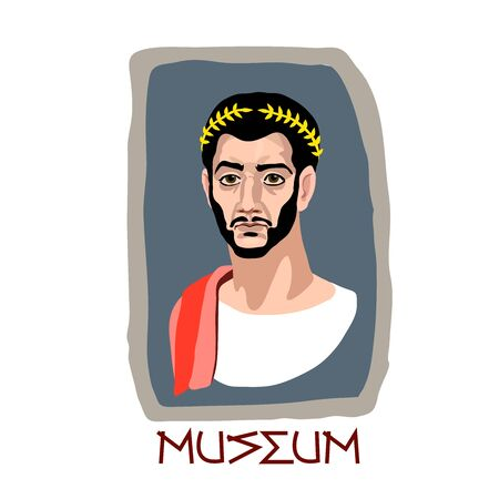 Fayum funeral portrait of an ancient Greek brunette man with a Golden Laurel wreath, an archaeological exhibit of the Museum, color vector illustration in cartoon, flat and hand drawn style, isolated on a white background