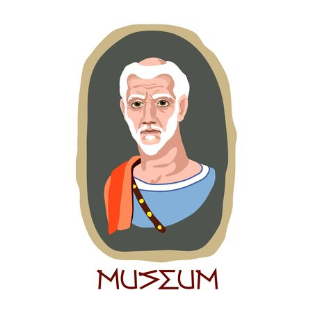 Fayum funeral portrait of an ancient Greek old gray-haired man, Museum exhibit, color vector illustration in cartoon, flat & hand drawn style, isolated on a white background Illustration