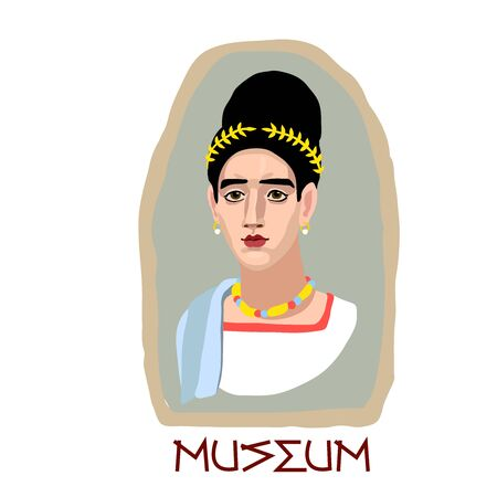 Fayum funeral portrait of a young cute brunette girl with gold jewelry & laurel wreath, museum archaeological exhibit, color vector illustration in cartoon, flat & hand drawn style isolated on a white background