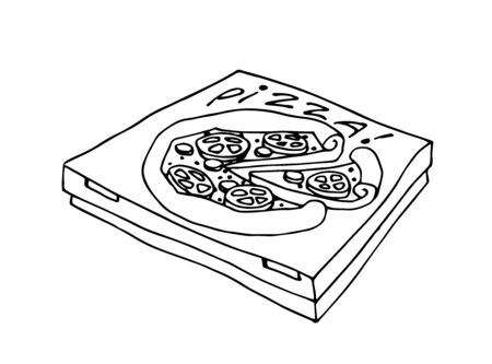 packaged pizza in a cardboard box, icon for fast food delivery, vector illustration with black contour lines isolated on a white background in a doodle & hand drawn style