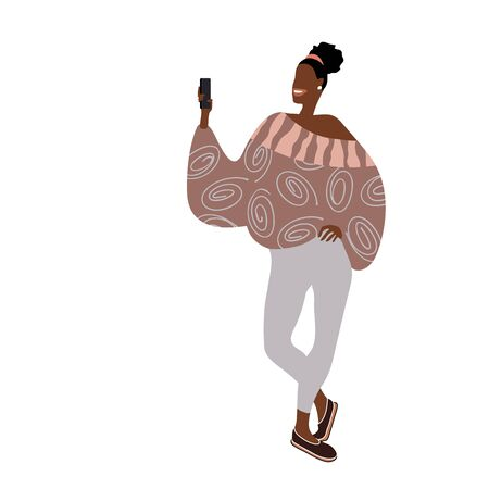 cute black Afro-American girl in trendy clothes take selfies for social network. Color vector illustration isolated on a white background in a flat & cartoon style.