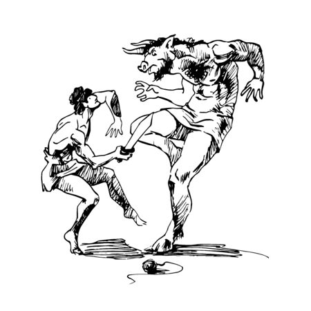 myths of Ancient Greece, the battle of Theseus and the Minotaur, the monster from the labyrinth, sketch, vector illustration isolated on a white background with black ink lines in a hand drawn style