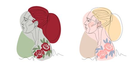head of a young cute girl in profile with tattoo of red roses,  posters, cards, vector illustration with black contour lines isolated on a white background in one line drawing & vintage style