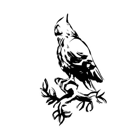 old owl in profile sitting on a branch, symbol of wise & halloween holiday, vector illustration with black ink stamp isolated on a white background in doodle and hand drawn style Illustration