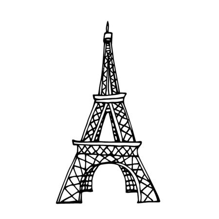 eiffel tower famous landmark of paris, symbol of romance, love, nostalgia, vector illustration with black ink contour lines isolated on a white background in doodle & hand drawn style Vectores
