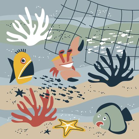 funny marine animals on a sea bottom, fish, flounder, corals, starfish, crab, trawl fishery, underwater life concept, color vector illustration on a gray background in a flat & cartoon style