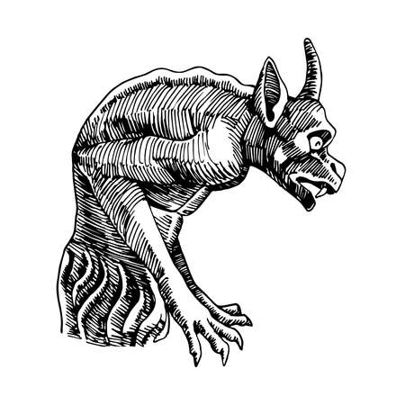 stone gargoyle, Gothic element of the architecture of Notre Dame Cathedral in Paris, fantasy monster, vector illustration with black ink lines isolated on a white background in hand drawn style Vettoriali