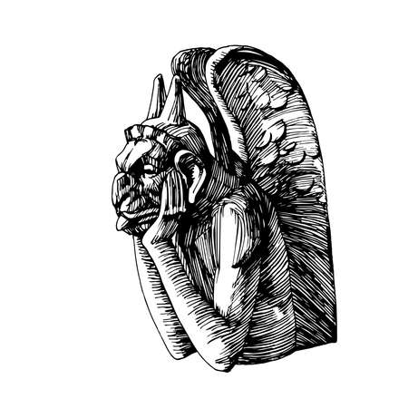 stone gargoyle, Gothic element of the architecture of Notre Dame Cathedral in Paris, fantasy monster, vector illustration with black ink lines isolated on a white background in hand drawn style