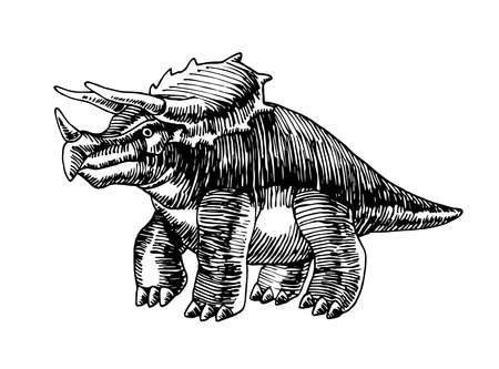 prehistoric reptile of the Jurassic period, herbivorous dinosaur Triceratops with horns, vector illustration with black ink lines isolated on a white background in a hand drawn style