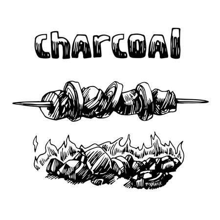 burning charcoal, firewood for barbecue with meat & onion, logo, emblem, menu decoration, vector illustration with black ink contour lines isolated on a white background in a doodle & hand drawn style