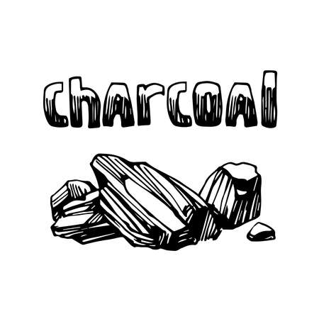 coal, charcoal, firewood for fireplace or barbecue, emblem, decoration, vector illustration with black ink contour lines isolated on a white background in a doodle & hand drawn style Illustration