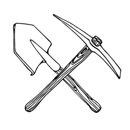 iron pickaxe & shovel with wooden handle Ilustracje wektorowe