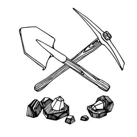 pickaxe, shovel & pieces of coal with diamond gemstones, mining tool, treasure hunting   emblem, vector illustration with black ink lines isolated on a white background in a hand drawn style