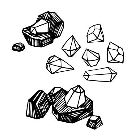 set of coal pieces with diamond gemstones, mining treasures, for   emblem, vector illustration with black ink contour lines isolated on a white background in a hand drawn & doodle style Illusztráció