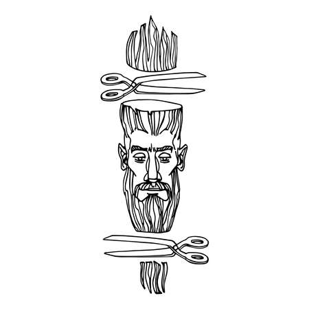 a man's face in a barber shop with scissors, the concept of a modern haircut, vector illustration with black ink contour lines isolated on a white background in a hand drawn & doodle style
