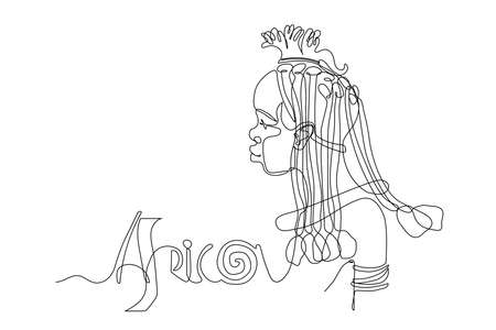 Cute young black african girl, tribe woman himba,  tourist posters, cards, vector illustration with contour lines on a white background in one line drawing style. Africa inscription
