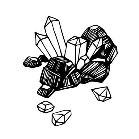 a piece of coal with diamond crystal, mining treasures, for emblem, engraving, sketch, vector illustration with black ink lines isolated on a white background in a hand drawn & doodle style