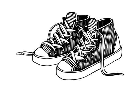 a pair of modern sneakers with laces, engraving, sketch, vector illustration with black ink contour lines isolated on a white background in a doodle & hand drawn style