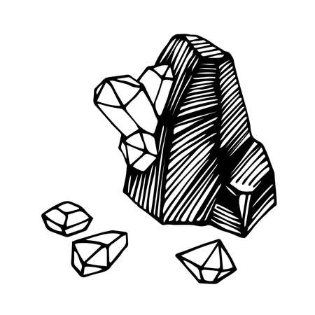 a piece of coal with diamond gemstones, mining treasures, for  emblem, engraving, sketch, vector illustration with black ink lines isolated on a white background in a hand drawn & doodle style Illusztráció