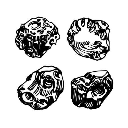 set of meteor ore or stones, cosmic celestial body, iron meteorite, vector illustration with black ink lines isolated on a white background