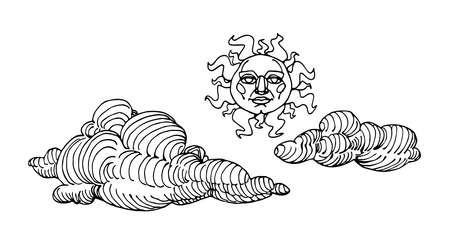 folk traditional sun with human face & graphic clouds, vector illustration with black ink contour lines isolated on a white background in a doodle & hand drawn style Illusztráció
