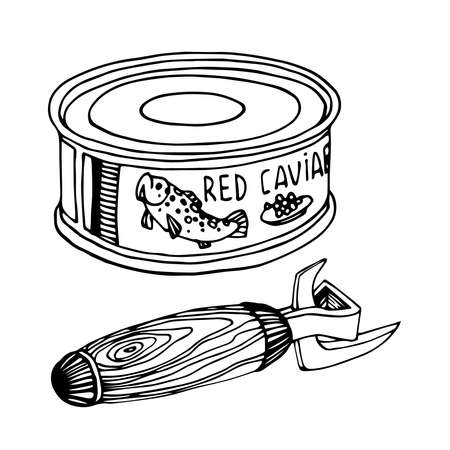 canned red caviar with tin opener