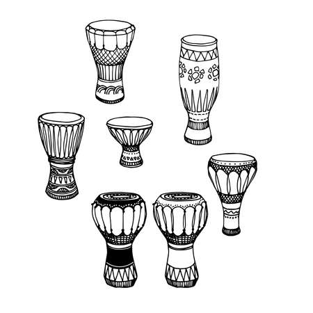 a set of percussion musical instruments, African drums, djembe, conga, darbuka, vector illustration with black ink contour lines isolated on a white background in a doodle & hand drawn style