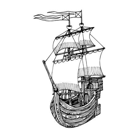 wooden sailboat made of boards with masts & sails, symbol of youth dreams & romantic, vector illustration with black ink contour lines isolated on white background in a hand drawn style
